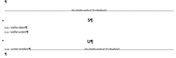 Word erstelltes Abkürzungsverzeichnis mit Format Klassisch
