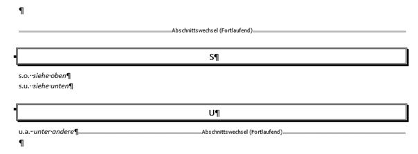 Word erstelltes Abkürzungsverzeichnis mit Format Ausgefallen