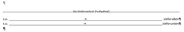 Word Abkürzungsverzeichnis mit rechtsbündigen Bedeutungen