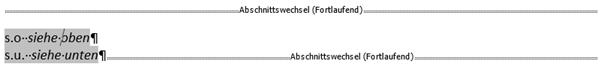 Word Cursor ins Abkürzungsverzeichnis - alles wird markiert