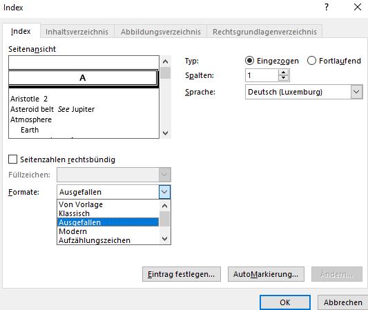 Word Abkürzungsverzeichnis aktualisieren wegen Formatänderung