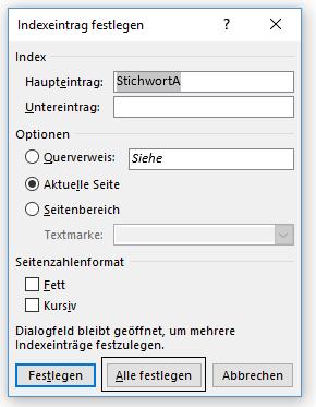 Word Stichwortverzeichnis Indexeintrag festlegen