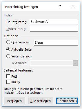 """Word Stichwortverzeichnis Indexeintrag festlegen mit Button """"Schließen"""""""