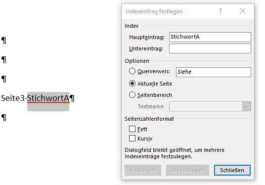 """Word Seite 3 StichwortA markiert, """"Festlegen"""" nicht möglich"""