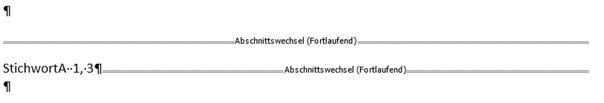 Stichwortverzeichnis dort StichwortA ohne Seite 2 aber mit Seite 1 und 3