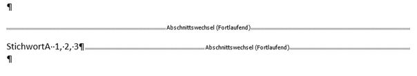 Word StichwortA mit den Seiten 1,2,3 im Stichwortverzeichnis