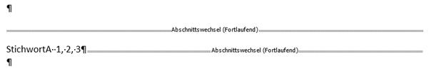 Im Stichwortverzeichnis erscheint StichwortA nur 1mal für Seite 1