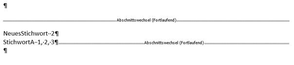 Word erstelltes Stichwortverzeichnis Spalten 1 Fotlaufend