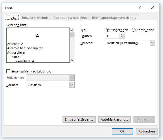 Word Stichwortverzeichnis erstellen Format Klassisch