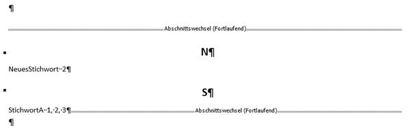 Word erstelltes Stichwortverzeichnis Format Klassisch