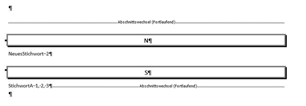 Word erstelltes Stichwortverzeichnis Format Ausgefallen