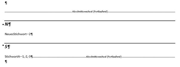 Word erstelltes Stichwortverzeichnis Format Modern