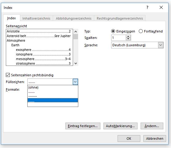 Word Stichwortverzeichnis erstellen Index Seitenzahlen rechtsbündig Füllzeichen
