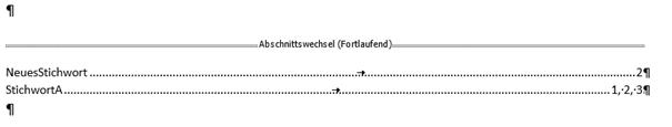 Word erstelltes Stichwortverzeichnis Seitenzahlen rechts Füllzeichen