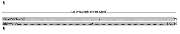 Word Stichwortverzeichnis markiert um es aktualisieren