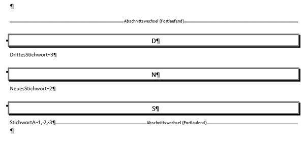 """Word Stichwortverzeichnis mit dem neuen Format """"Ausgefallen"""""""