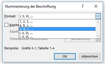 Word Tabellenverzeichnis Nummerierung der Beschriftung ändern