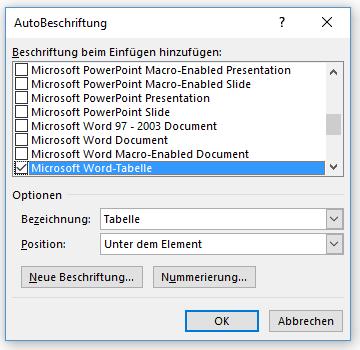 Word Tabellenverzeichnis Auswahlmöglichkeiten für Autobeschriftung