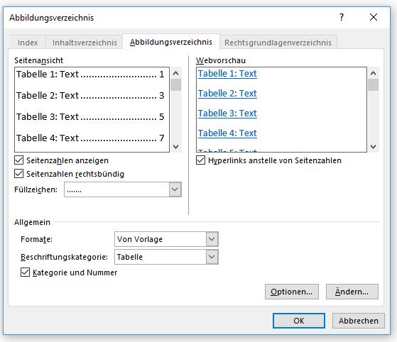 Word Tabellenverzeichnis erstellen über Abbildungsverzeichnis erstellen