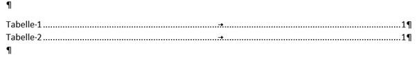 Word Tabellenverzeichnis erstellen mit den Vorschlagswerten von Word