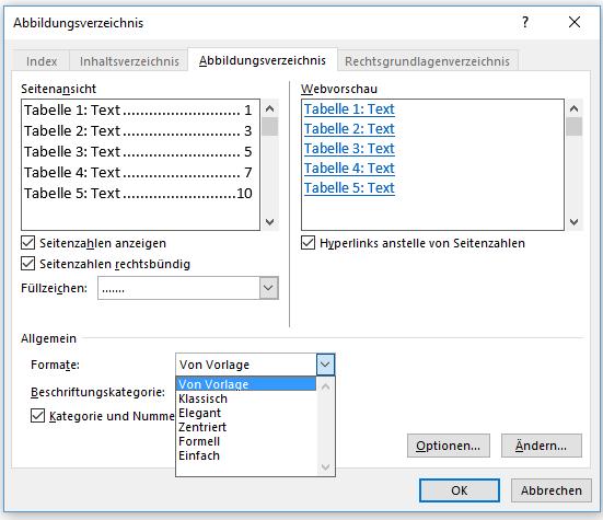 Word Die verschiedenen Formate für Tabellenverzeichnis erstellen