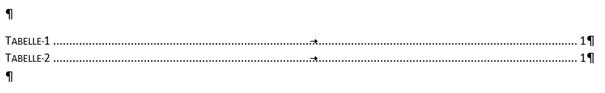 """Word Tabellenverzeichnis bei der Verwendung des Formates """"Formell"""""""