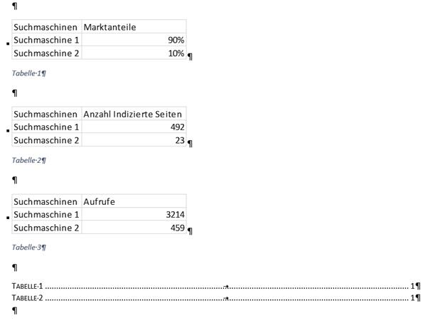 Word Ausgangssituation vor der Aktualisierung des Tabellenverzeichnisses
