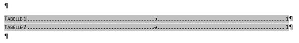 Word markiertes Tabellenverzeichnis