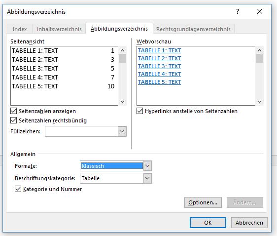 Word anderes Format für Tabellenverzeichnis
