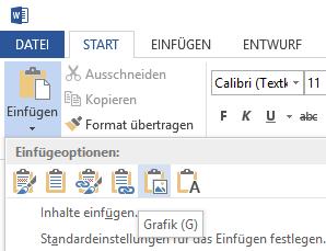 Excel-Tabelle in Word als Grafik einfügen