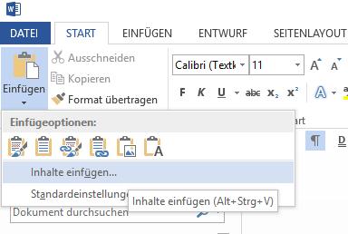"""Excel-Tabelle in Word über """"Inhalte einfügen"""