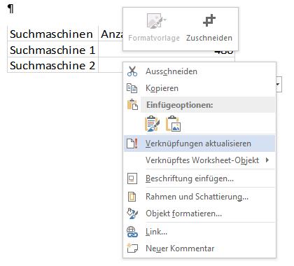 Verknüpfung der Excel-Tabelle in Word aktualisieren