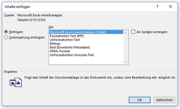 """""""Einfügen"""" um Excel-Funktionen für eine Tabelle in Word zu erhalten"""