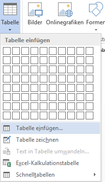 Word Tabellen Optionen für leere Tabelle einfügen