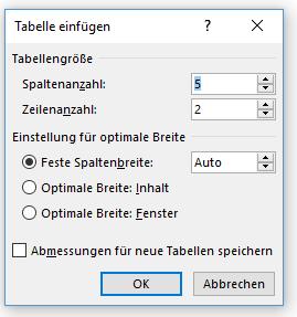 Word Optionen für einfache Tabelle einfügen
