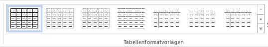 Word Auswahl von Tabellenformatvorlagen