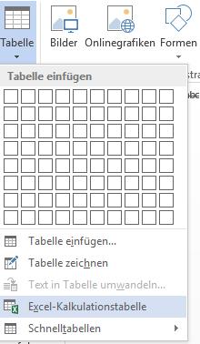 Word Einfügen Excel-Kalkulationstabelle
