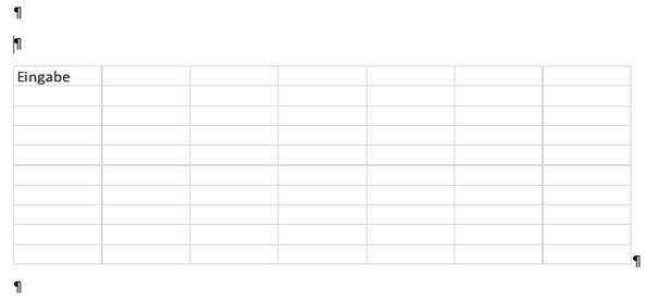 Jetzt ist die in Word eingefügte Excel-Kalkulationstabelle nicht mehr eingabebereit