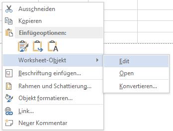 Word Excel-Kalkulationstabelle wieder bearbeitbar machen