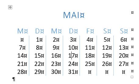 Word Schnelltabelle Kalender 2