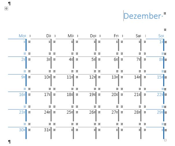 Word Schnelltabelle Kalender 3