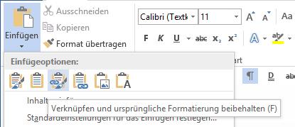 """""""Verknüpfen und ursprüngliche Formatierung beibehalten"""" als Einfügeoption"""