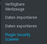 WordPress Plugin Security Scanner Menüpunkt