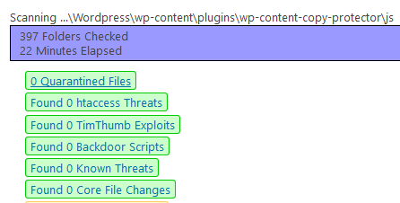 WordPress Plugin Anti-Malware Security and Brute-Force Firewall bisherige Scanzeit