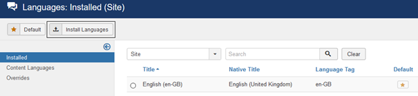 Joomla Englisch als Standardsprache eingestellt
