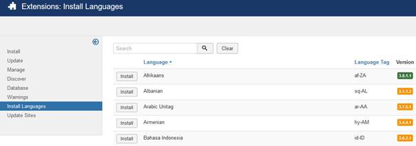 Ein Teil der Sprachenauswahl bei Joomla