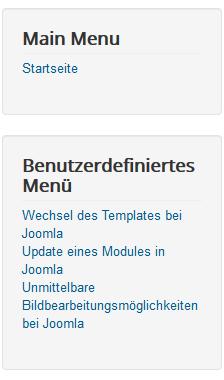 Joomla Menü Position 7 auf der Website