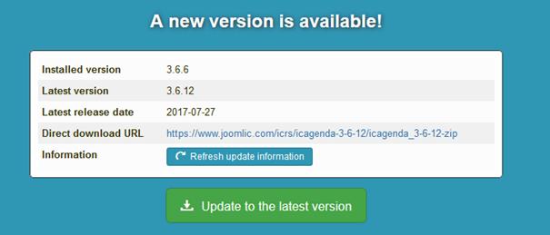 Bestätigung von Joomla daß eine neue Version von iCagenda verfügbar ist