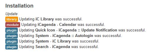 Joomla Modul iCagenda konkrete Aktualisierungsübersicht