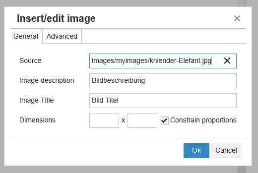 Joomla Möglichkeit Bildgröße durch Pixeleingabe zu verändern